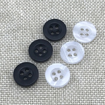 White And Black Broad-brimmed Four Holes Resin Button For Shirt