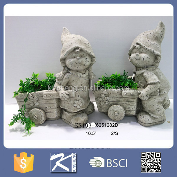 Mgo garden decorative boy & girl figurines in cement color