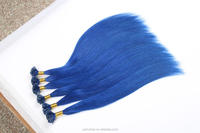silky straight blue colored 100 keratin u tip human hair extension nail type pre-bonded hair product