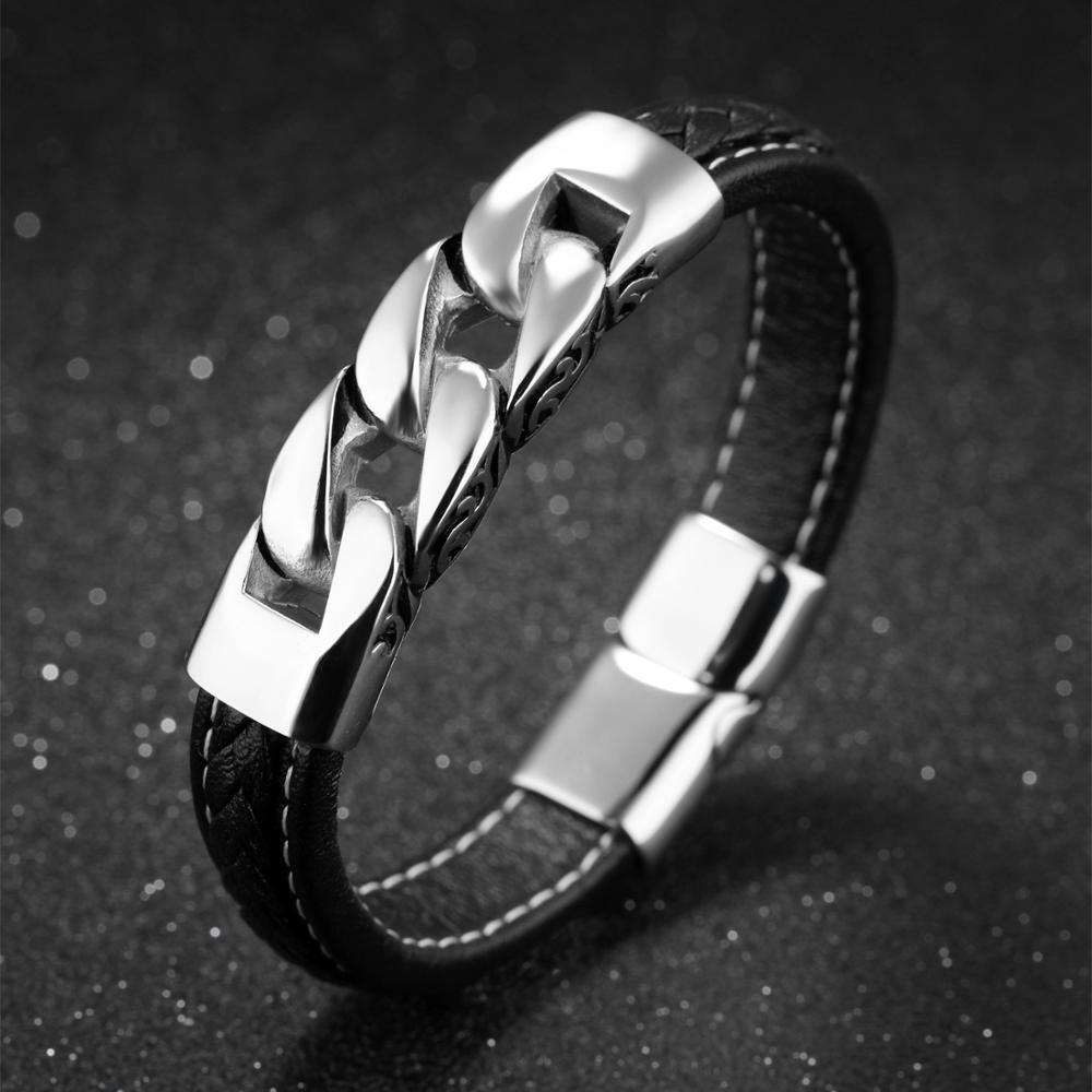 Wholesale Mens Casual Stainless Steel Black Cuff Genuine Leather Bracelets