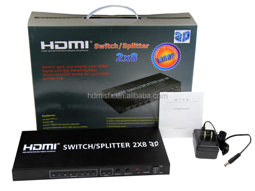 2x8 HDMI Switch/Splitter/Switcher/Distributor with metal housing