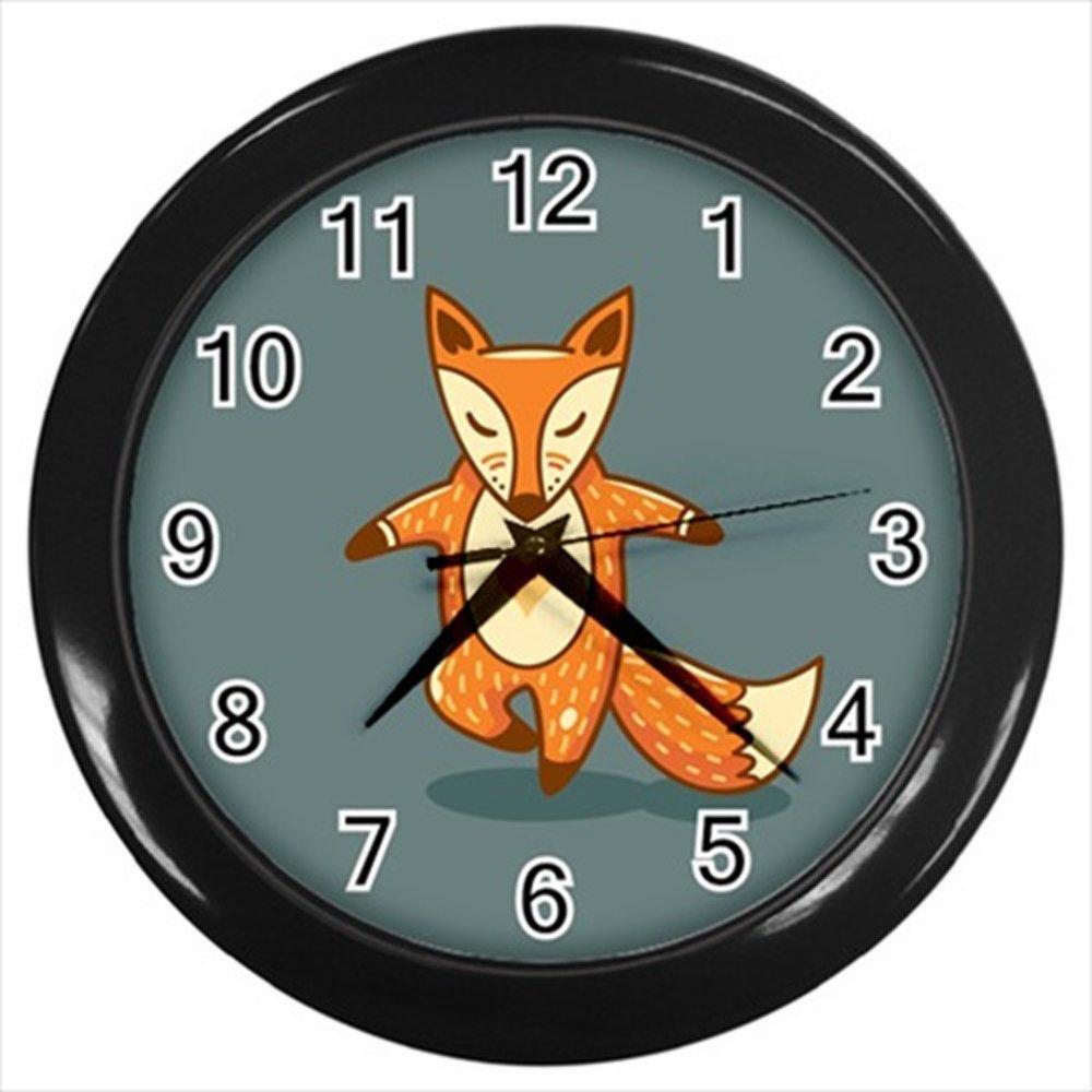 Kidozooo Fox Practicing Yoga Wall Clock (Black)