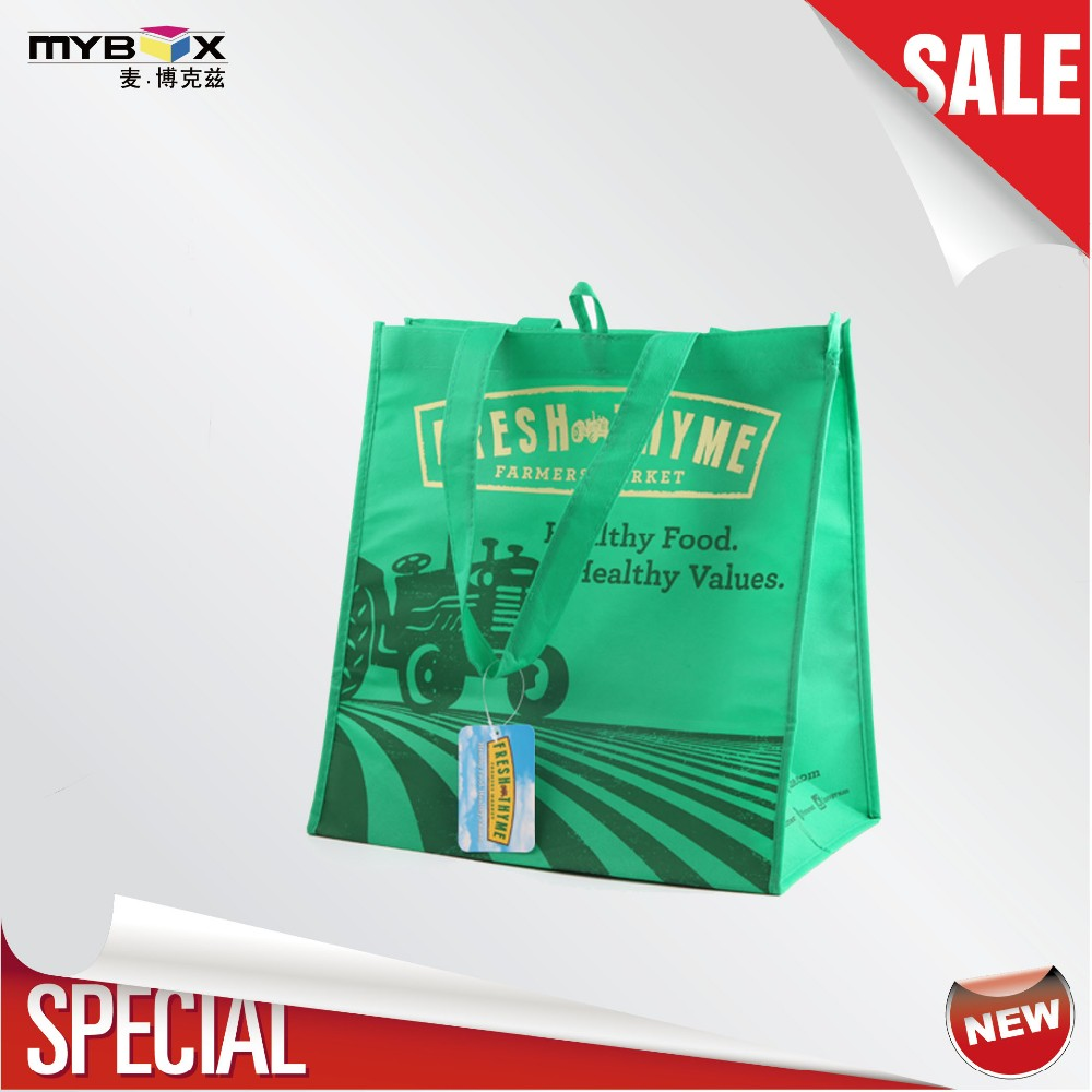 Green Reusable Eco Friendly Bag custom Logo Foldable PP Non woven Grocery Bag with Handles