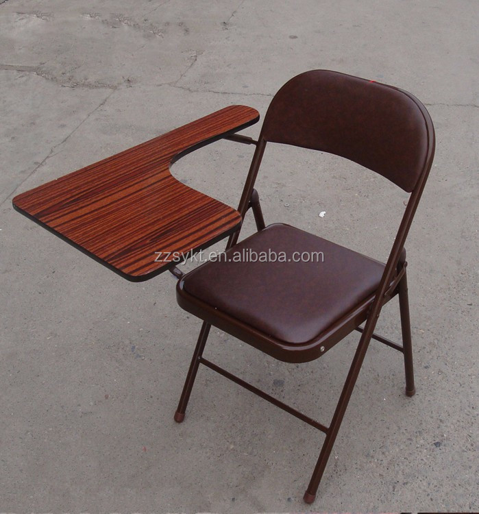 Student Metal Folding Study Chairs With Writing Pad