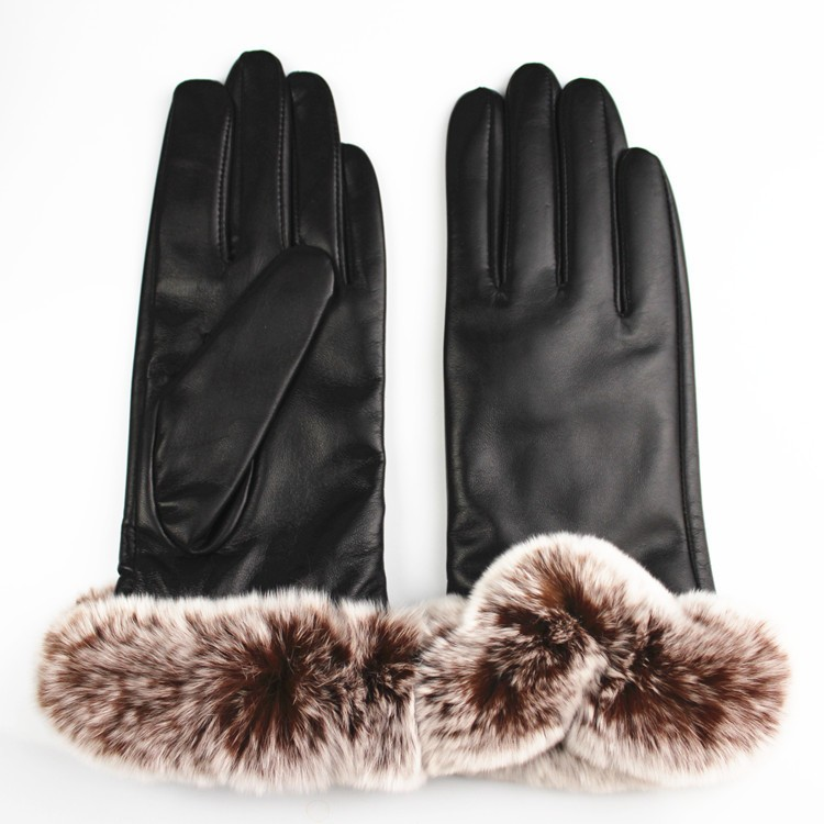 women black sheepskin leather gloves with brown rabbit fur