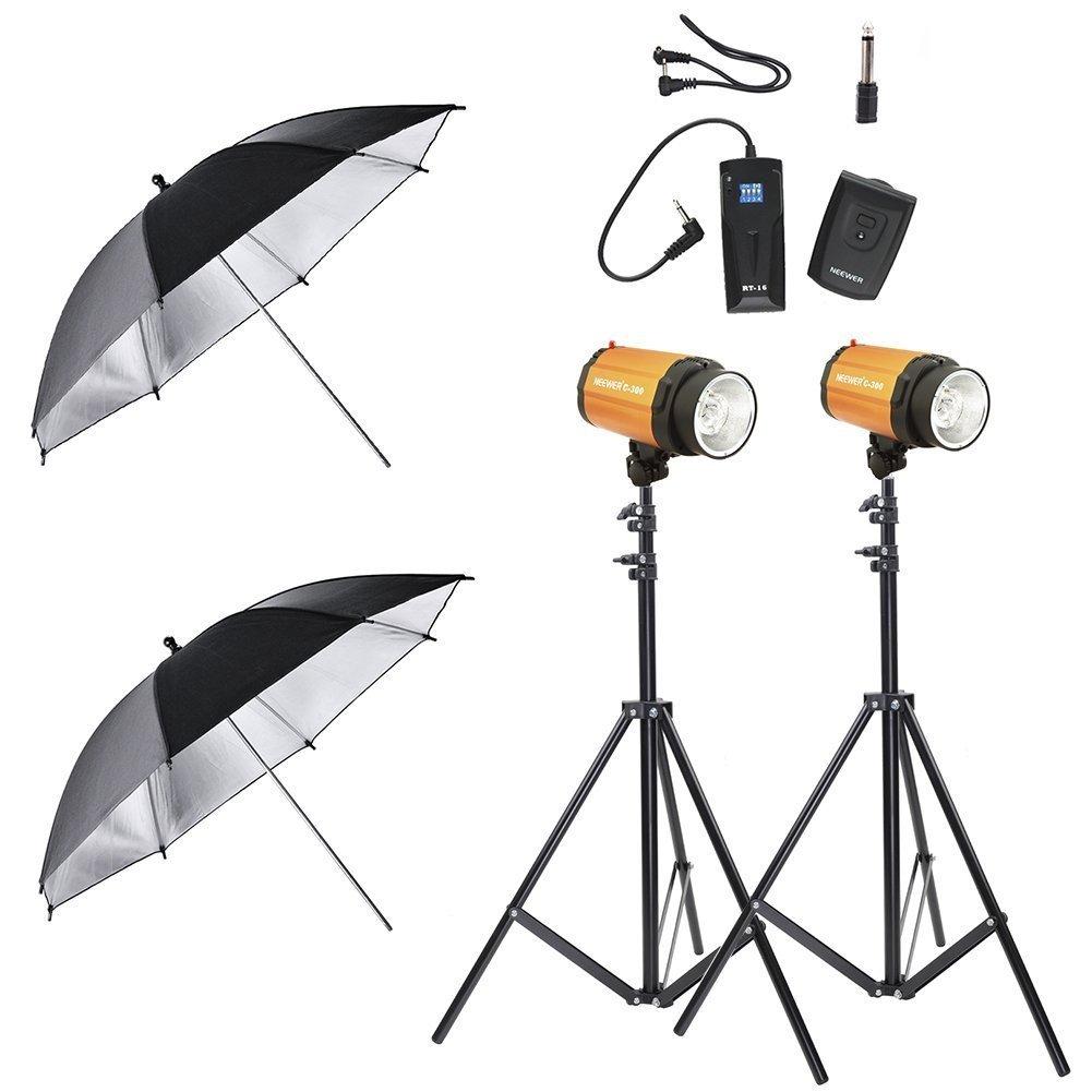 "Neewer Photo Studio Lighting Kit 600W-(2)300W Smart C-300/300SDI Studio Lighting Strobes,(2)190CM Light Stands,Black Silver 33"" Umbrellas,RT-16 Wireless Flash Trigger & Receiver Set"