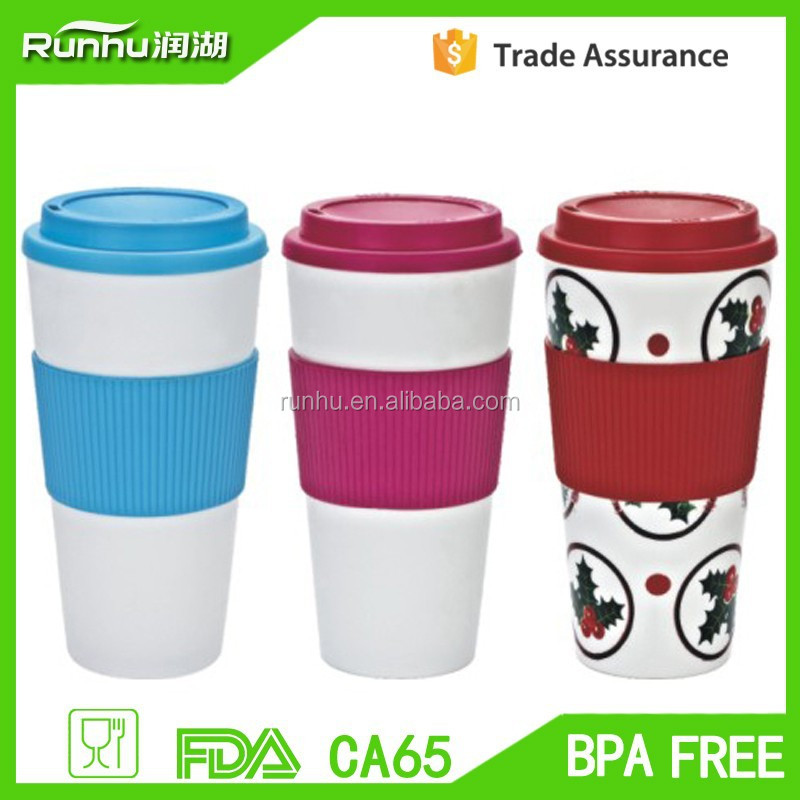 Eco-friendly Double Wall PP Plastic Coffee Tumbler With Lid And Silicon Band RH120-24