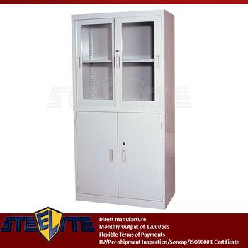 Half Glass Metal 4 Door Freestanding Larder Cupboard Four Door Steel Kitchen Pantry Cabinet
