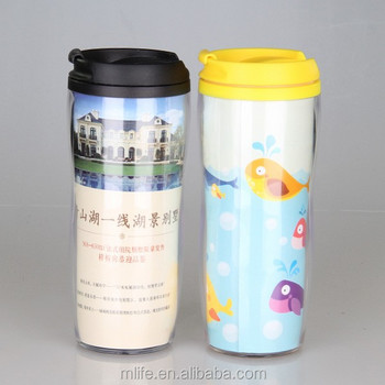14OZ Double wall plastic thermo advertising mug