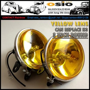 3 Round H3 Halogen Fog Light Yellow Glass