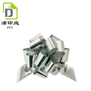 Silver Wedding gift wrap pp holographic pull flower ribbon package bows pp bow for party decoration