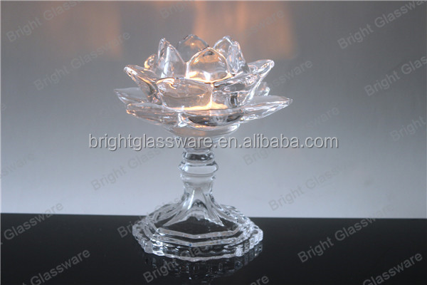 New Crystal Lotus Flower Candle Holder With Glass Stand For