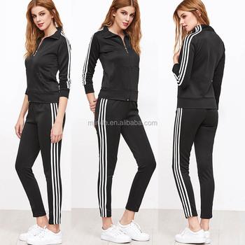 27e76d800667 Женские модные костюмы черный полосатый сбоку на молнии куртка и Jogger  Sweatpants Женские зимние спортивные костюмы