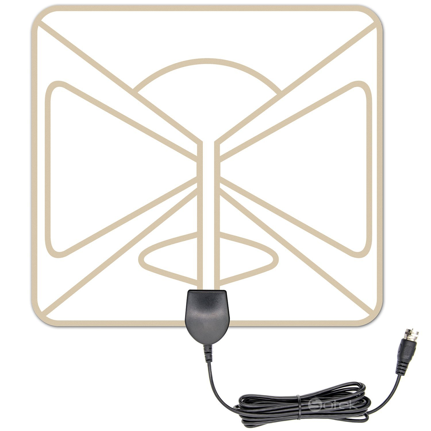 HDTV Antenna Indoor, Sotek HD TV Antenna for Digital TV Indoor 50-80 Miles Long Range with Detachable Amplifier and 10FT High Performance Coax Cable - Black