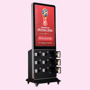 Customized Free Payment/Coin Operated 42 Inch Digital Signage 9 lockers Fast Charger Mobile Phone Charging Kiosk