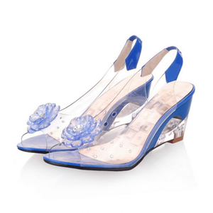 H10096B Latest design summer flower high heel wedge sandals soft plastic jelly shoes for women