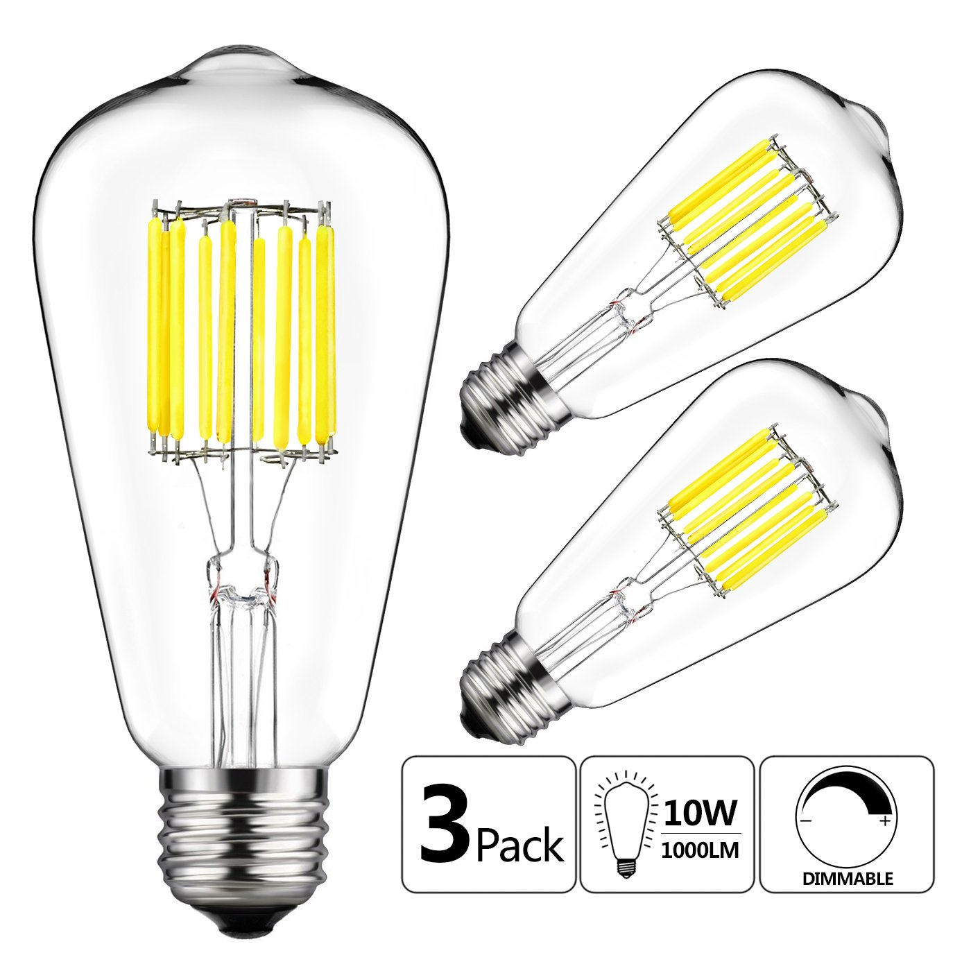 4-Pack 12W LED A19 Dimmable Filament Light Bulbs Lustaled A60 LED Clear Glass Vintage Edison Style Lights Daylight Medium E26 Base 120W Incandescent Replacement for Ceiling Fan Pendant Lighting