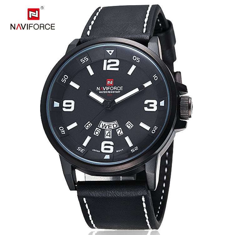 NAVIFORCE Casual Horloge Top Brand Luxe Fashion Horloges Mannen Sport Quartz Horloge Leather Duik Horloge
