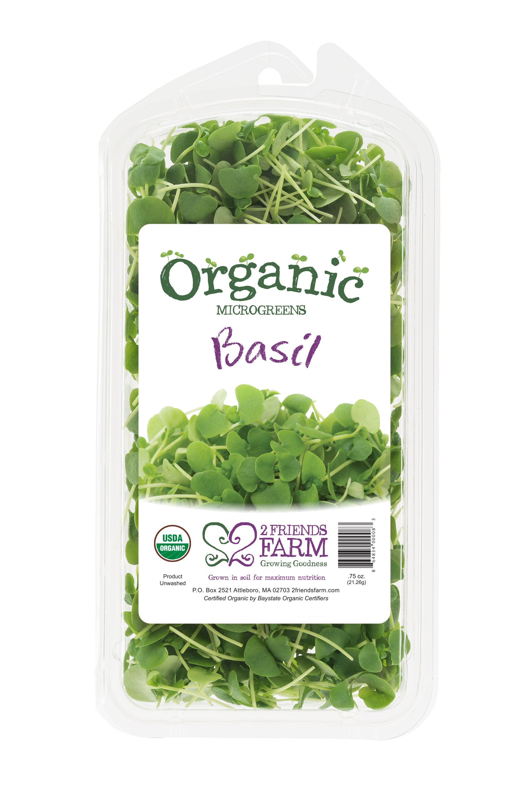 2 Friends Farm Local Northeast Organic Basil Microgreens .75oz