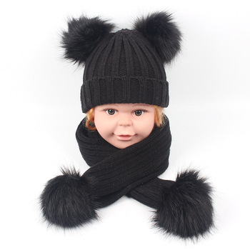 om-90 Warm Winter Child Baby Knitted Elastic Wool With Fur Pom Pom Faux Raccoon Fur Ball Decoration Bobble Hat And scarf