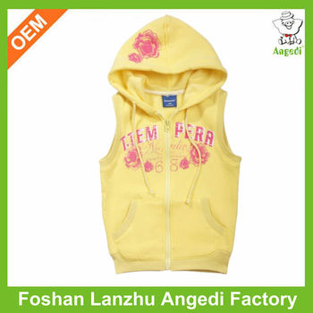 00d445fff353e Customized baby girls sleeveless hoodie terry fabric hoody for toddler girls  with printed zipped up hoody