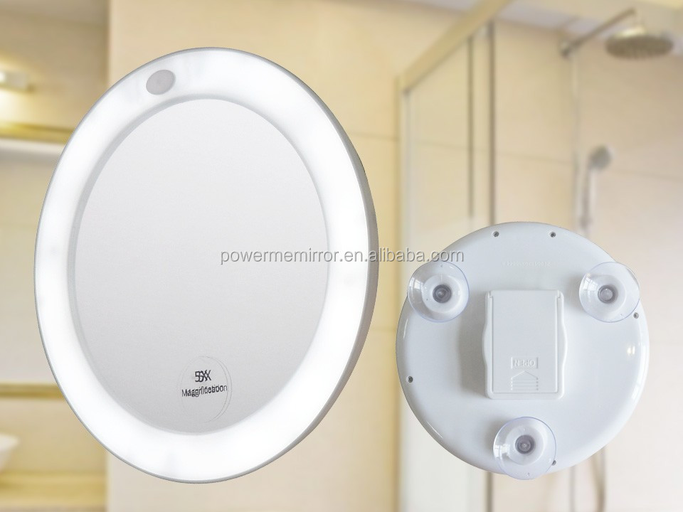 Battery Led Light Makeup Mirror Lighted Suction With Lights Day Bathroom