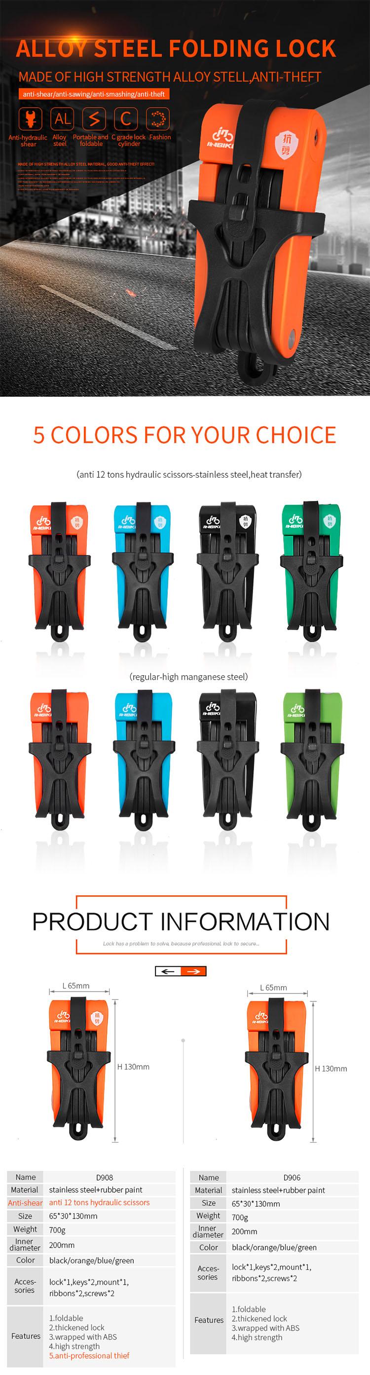INBIKE Tốt Nhất người bán sản phẩm mới 5 màu thép an toàn bền gấp xe đạp xe đạp chống trộm gấp khóa