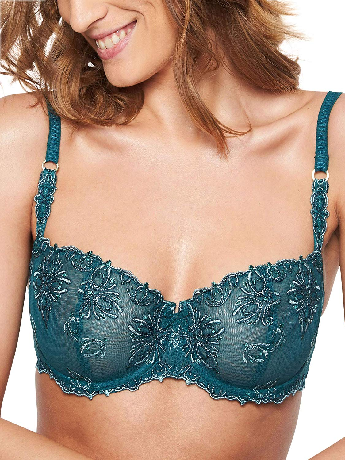 55753cad35 Get Quotations · Chantelle Champs Elysees Lace Unlined Demi Bra (2605)