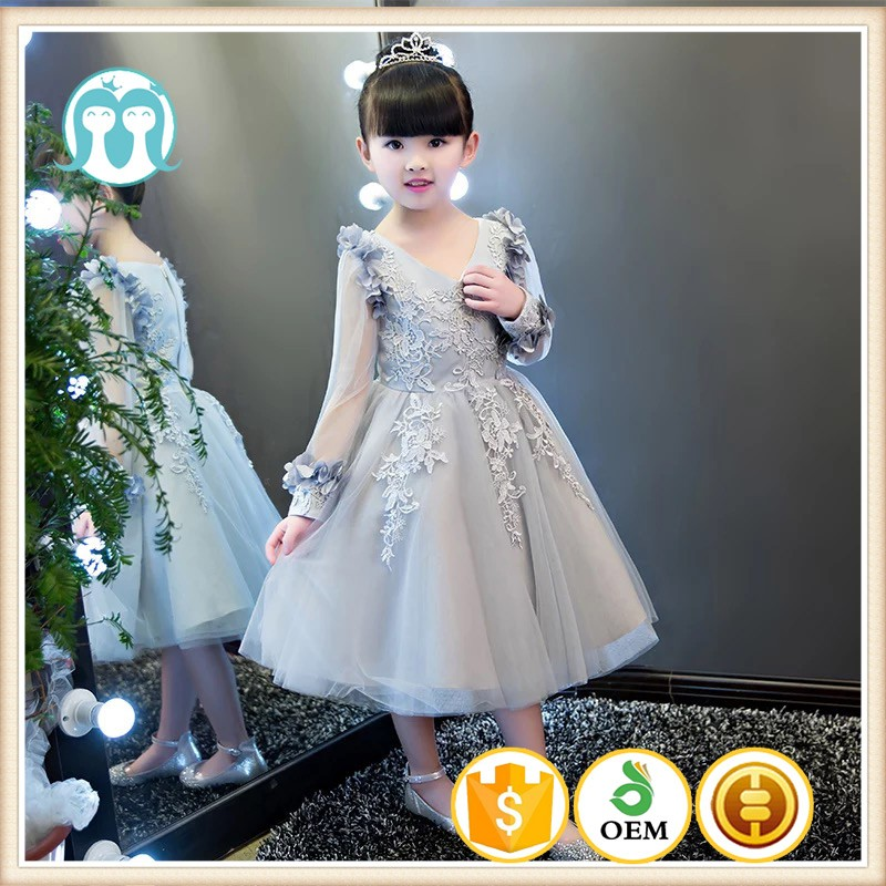 9936c7f9c64 New girls boutique clothing children frocks designs Long sleeves Gray  embroidery flower V collar party dresses