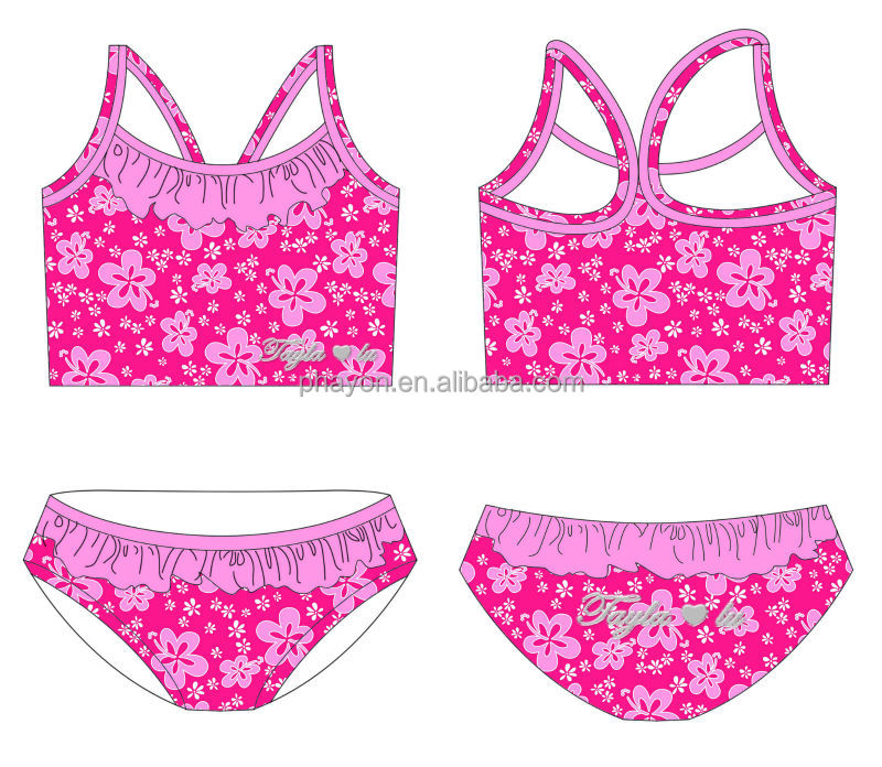 wholesale pink print kid swimwear/beach flower child fashion swim dress