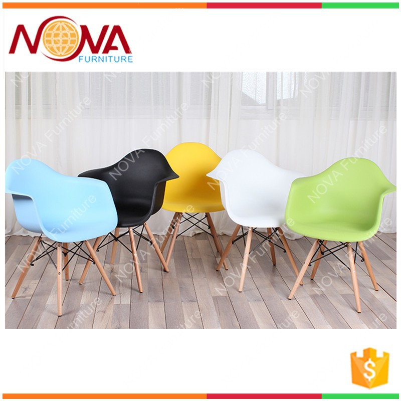 Outdoor Furniture No Folded Best Quality Cheap Used HDPE Armrest Wire  Wooden Legs Plastic Garden Chairs