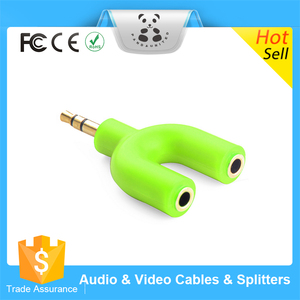 Colorful 3.5mm Earphone Headphone Audio Splitter 1 Male to 2 Females Jacks Cord Music Sharing Device