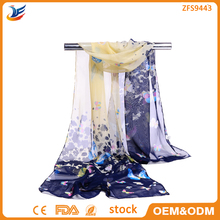 wholesale neck scarf types chiffon stock scarf with butterfly printing