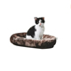 2016 New Arrival Decorative Brown Soft Plush Fur Oval Burger Bun Pet Cat Bed