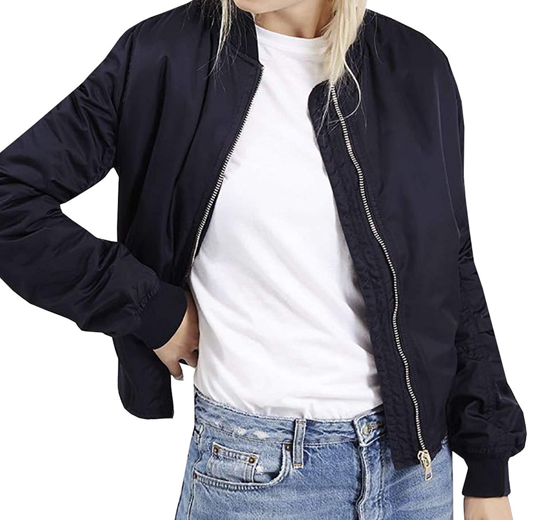 Gobought Womens Girls Autumn Classic Quilted Zipper Bomber Short Jacket Coat