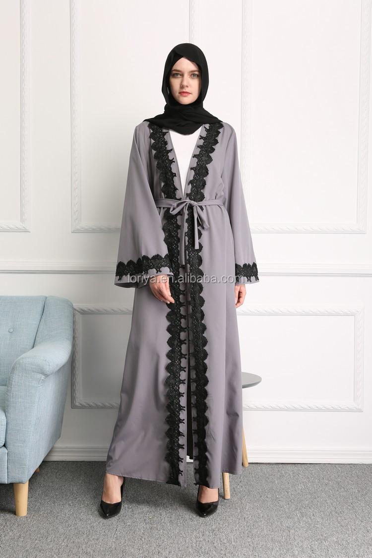 Latest Designs Muslim Abaya Dress Black Lace Open Abaya Front Open ...