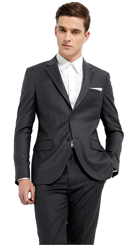 3233ab929eca Get Quotations · Iyan Mens Suits Dark Grey Slim Fit 2 Piece, Best Man Suit  Set
