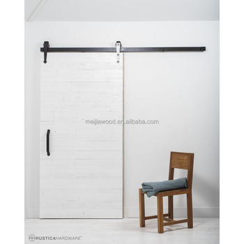 Rustica Reclaimed White Wood Barn Door With Arrow Sliding Door Hardware Kit