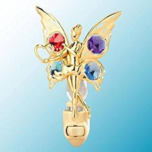24k Gold Fairy with Heart Night Light - Multicolored Swarovski Crystal