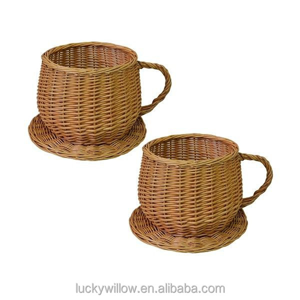 Vintage wicker cup, wicker tea cup