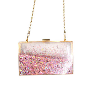 New Design Clear Acrylic Evening Bag Bling Women Clutch with Water Inside