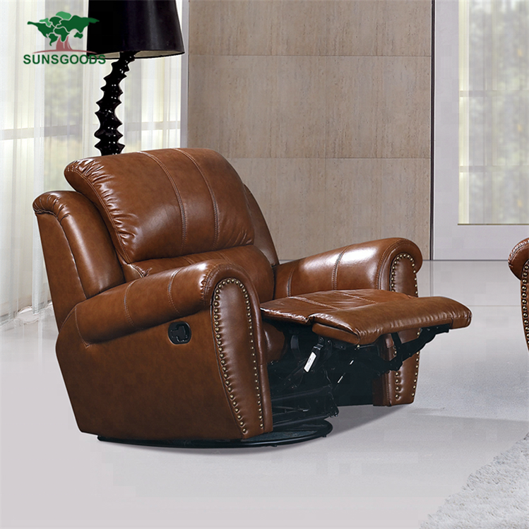 Floor Swivel Recliner Chair 360 Degree Rotation Living Room Furniture Modern Japanese Design Leather Armchair Chaise Lounge To Adopt Advanced Technology Furniture