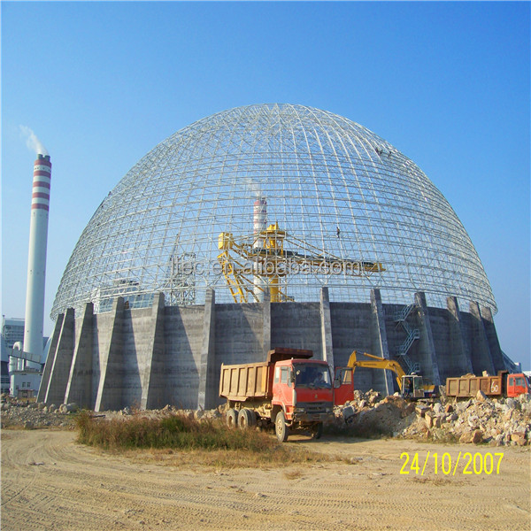 Color Roof Steel Space Frame Dome Storage Shed For Power Plant