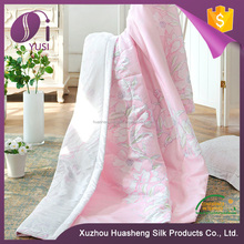 For Custom Made Use In Summer With Printing Pink Colour Filling Tussah Silk Quilt