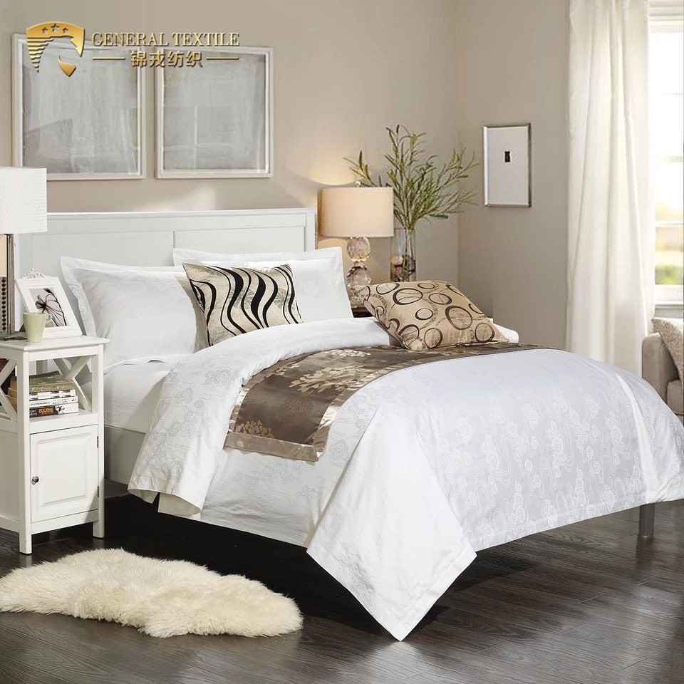 China supplier jacquard weave luxury 100% cotton hotel white sheets