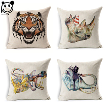 Linen Fabric Printed Square Cushion Cover Colorful Elephant Rhino Tiger Hippo Animal Head Decorative Sofa Throw Pillow