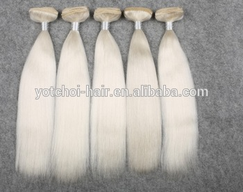 White 7A Double Drawn White Weft Yak Hair Extension
