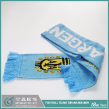 Free Shipping No MOQ Argentina National Flag Design Fashionable Winter Acrylic Wool Knitted Football Scarf Good Price
