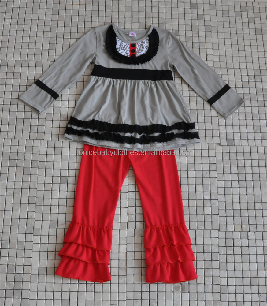comfortable korean style childrens cotton ruffle boutique clothing for wholesale