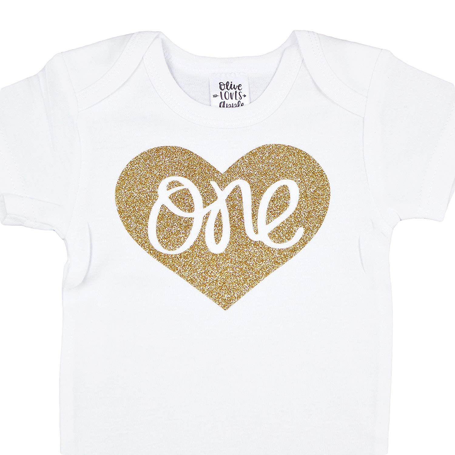 c43f99f386c Get Quotations · Baby Girls First Birthday Bodysuit Sparkly Gold One Inside  Heart Design 1st Birthday Outfit Girl